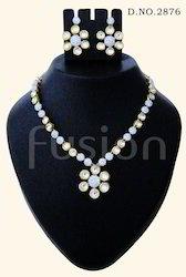 American Diamond Studded Kundan Necklace Set