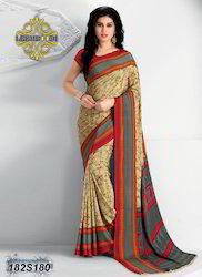 Beige Color Printed Saree