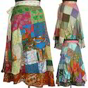 Vintage Silk Sari Patchwork Magic Wrap Skirts