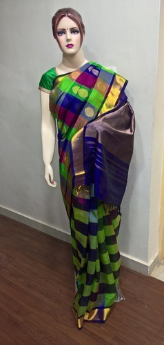 Silk Cotton Rangoli Checks With Big Butta Saree