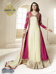 Ladies Cream and Red Designer Anarkali Suit