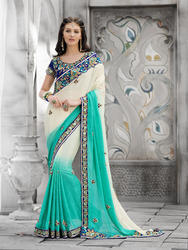 Pure Chiffon Plain Ethnic Saree
