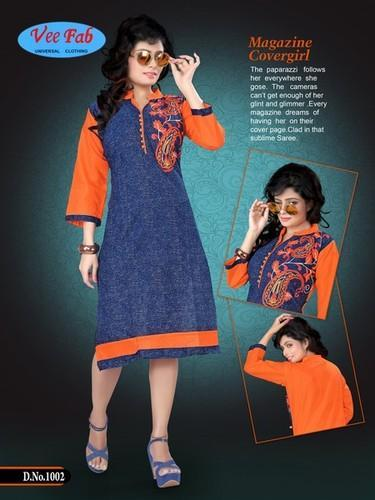 Ruff & Tuff Denim Print Kurti 8 Piece Set