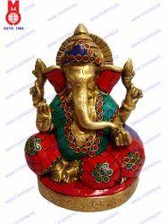 Lord Ganesh Sitting W/Pillow & Stone Work Statue