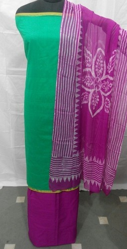 Batik Printed Dupatta Plain Chanderi Suit