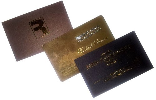 wooden business card with gold metal sticker - Business Card Stickers
