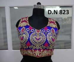 Blue Silk Cording Work Stitched Blouse
