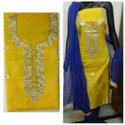Aaditri Yellow Banarasi Gota Patti Suit