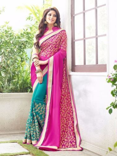 Rani Colour Wedding Saree