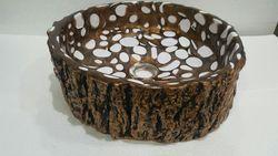 Prayosha Wood Trunk Mordern Brown Washbasin