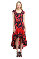 Women's Printed High Low Dress