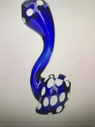 Blue  Peacock Design Glass Pipe