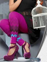 Printed Purple Color  Cotton Leggings