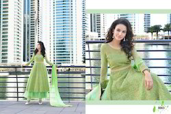 Green Gergette Stitched Embroidery Gown