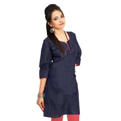 Exclusive Red Border Dark Black Girls Cotton Kurti 576