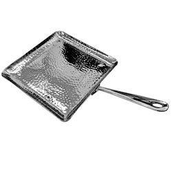 Square Hammered Platter Dish With Handle