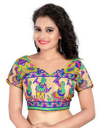 Multicolor Kutchhi Embroidered Cotton Blouse