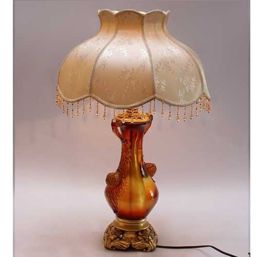 Brown and Beige Glass Table Lamp
