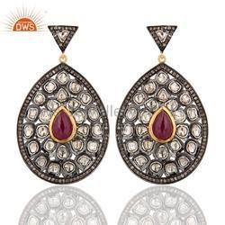 Rose Cut Diamond Ruby Earrings