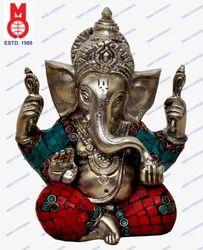 Ganesh W/ Out Base W/ Stone Work Statue