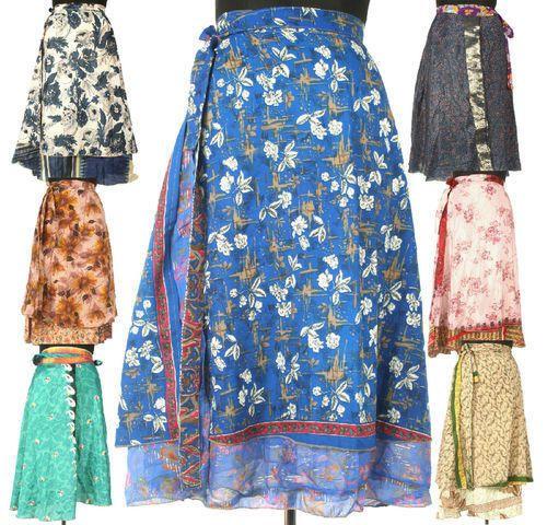Vintage Silk Sari Magic Wrap Skirts