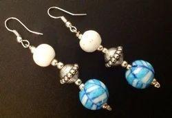 Pottery Three Bead Earring