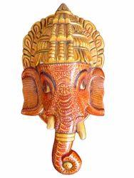 Wooden Ganesha Head Statue