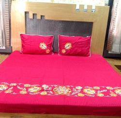 Maroon Embroidered Bed Sheet