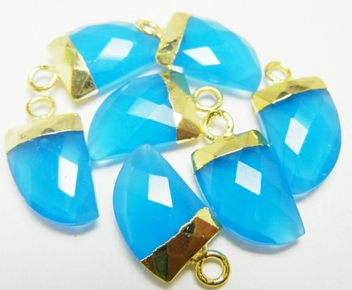 Peru Chalcedony Horn Pendant with Gold Electroplated Cap