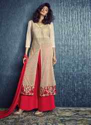 Red and Cream Palazzo Suit