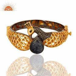 Gemstone Pave Diamond Traditional Bangle