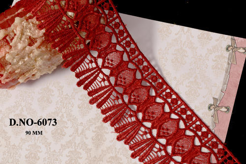 Red Designer and Bridal Floral Polyester GPO Lace
