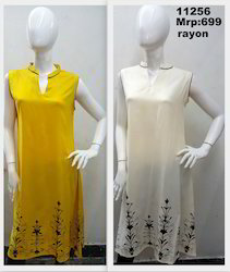 Rayon Chinese Collar Screenprint Kurta