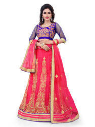 Pink Net Heavy Embroidered Lehenga