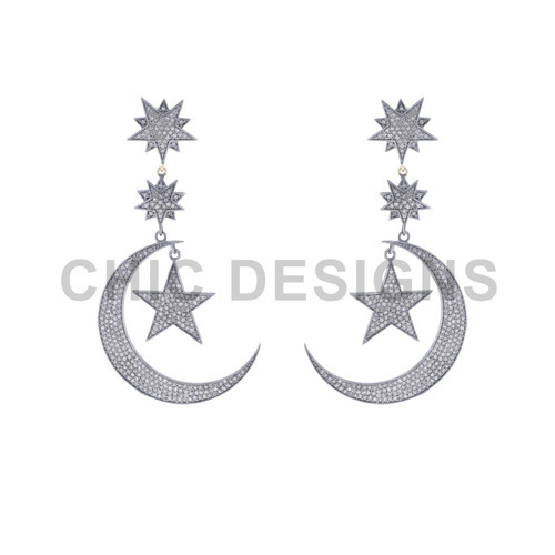 Half Moon and Star Dangle Earrings