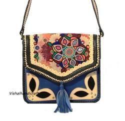 Leather Vintage Embroidery Handbag