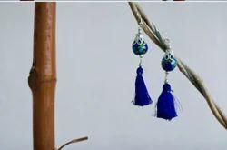 Pottery Silk Thread Earring