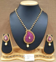 Designer Polki Chain Pendant Set