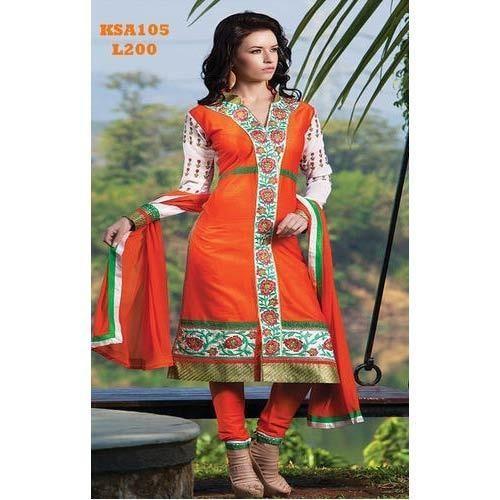 Orange Cotton Embroidered Suit