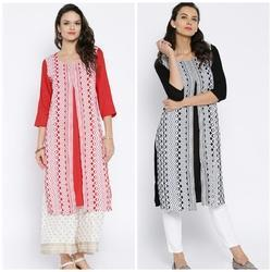 Rayon Screen Print Long Kurta
