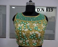 Golden Net Embroidered Stitched Blouse