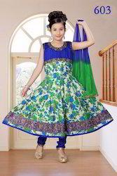 Girls Floral Anarkali Suits in Blue Green