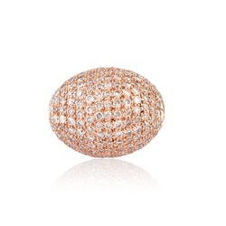 18k rose gold pave diamond beads spacer