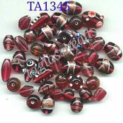 Mix Fancy Glass Beads Colour Pink