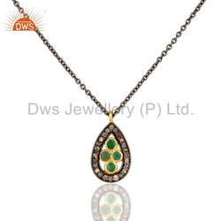 Natural Emerald Pave Diamond Pendant