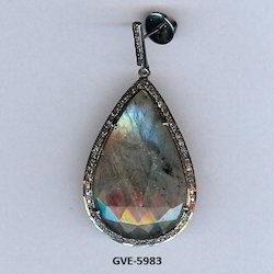 925 Silver Sapphire Single Cut Diamond Stone Earring