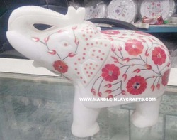 Decorative Marble Inlay Elephant Sculpture
