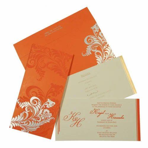 Metallic Offset Orange Printing Wedding Card