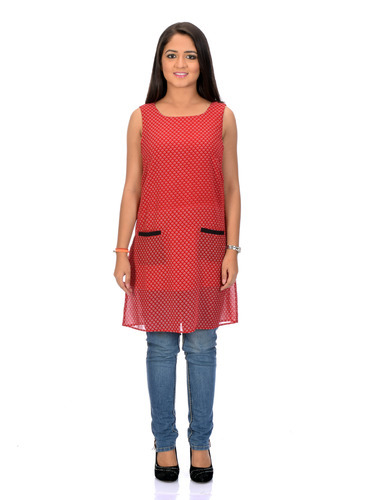 Women Red Black Dotted Dress