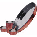Steel Copper Hammered Thali Set